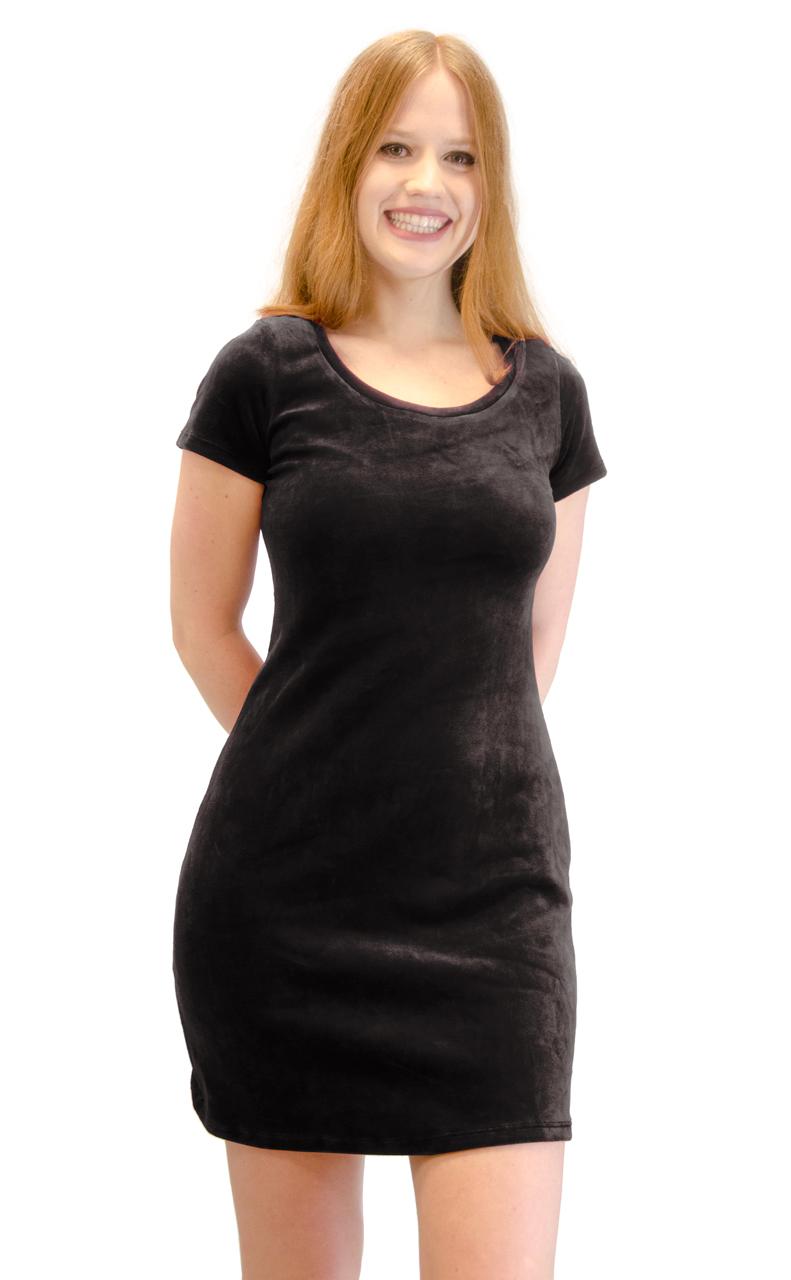 Vivian-039-s-Fashions-Dress-Velour-Short-Sleeve-Short-Dress thumbnail 11
