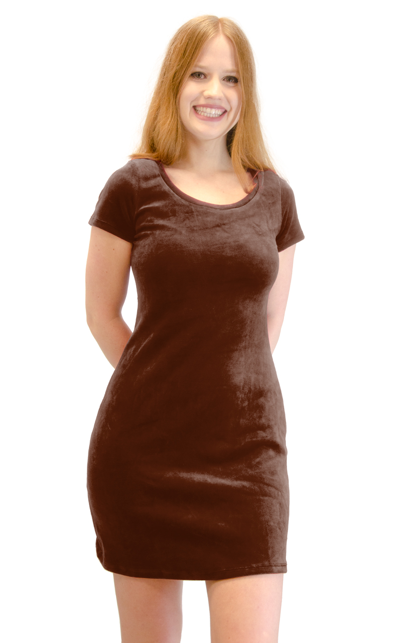 Vivian-039-s-Fashions-Dress-Velour-Short-Sleeve-Short-Dress thumbnail 17