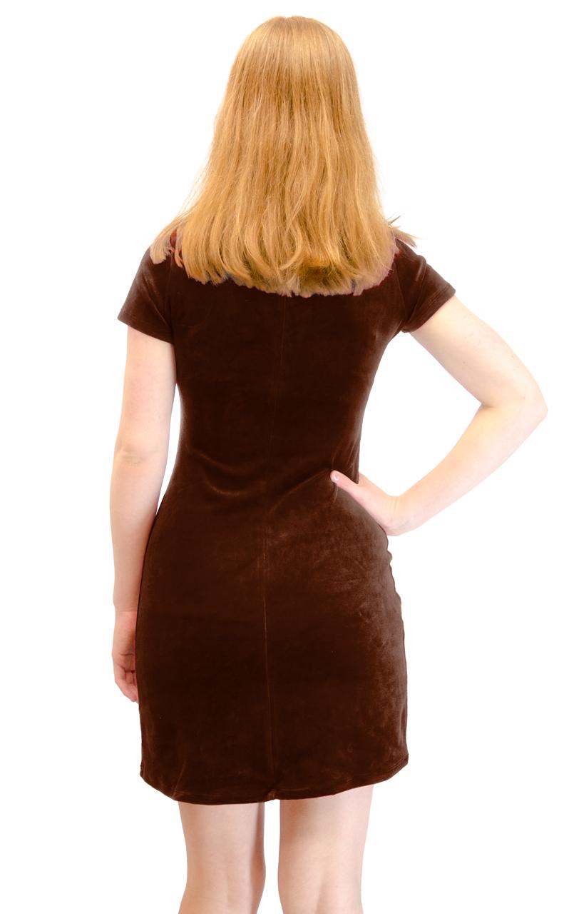 Vivian-039-s-Fashions-Dress-Velour-Short-Sleeve-Short-Dress thumbnail 18
