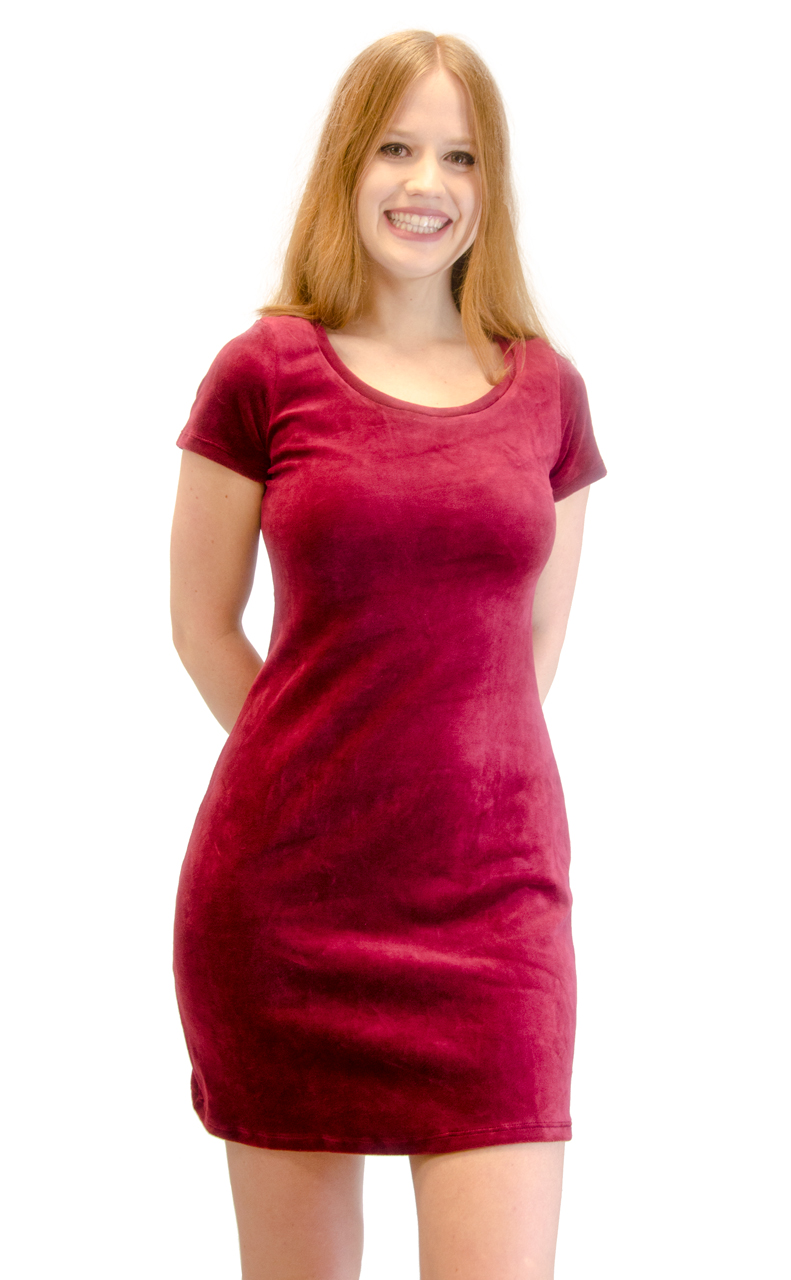 Vivian-039-s-Fashions-Dress-Velour-Short-Sleeve-Short-Dress thumbnail 23