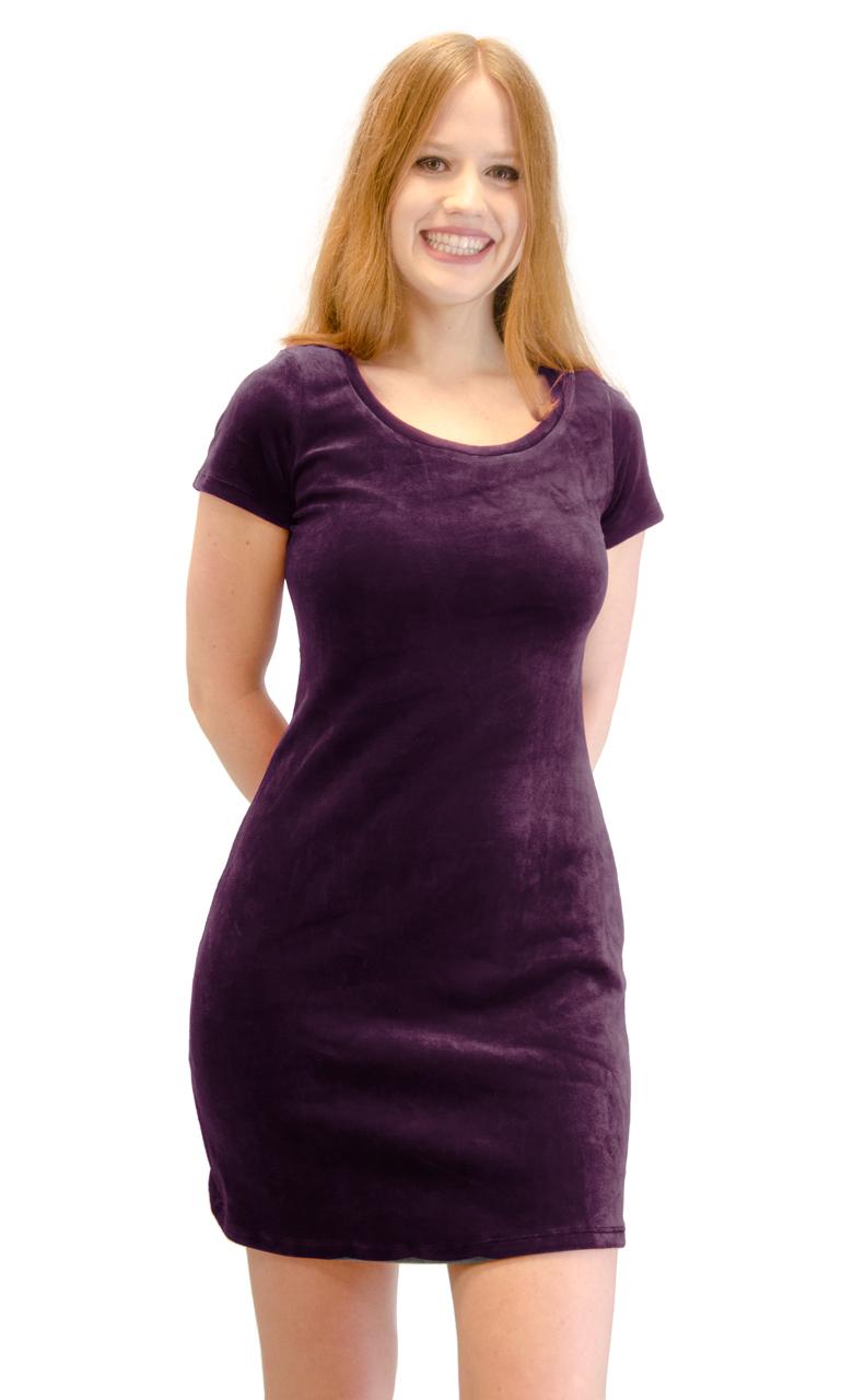 Vivian-039-s-Fashions-Dress-Velour-Short-Sleeve-Short-Dress thumbnail 20