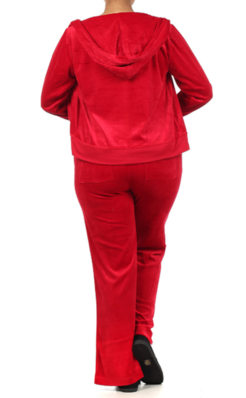 Velour Classic Hoodie Sweat Suit Jacket and Pant Set