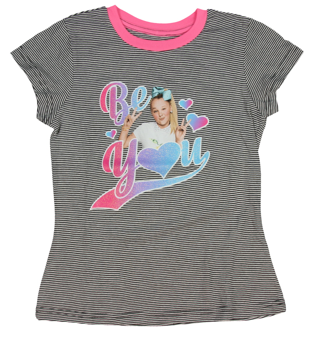 Jojo Siwa Rainbow Stripes Girls Graphic T Shirt