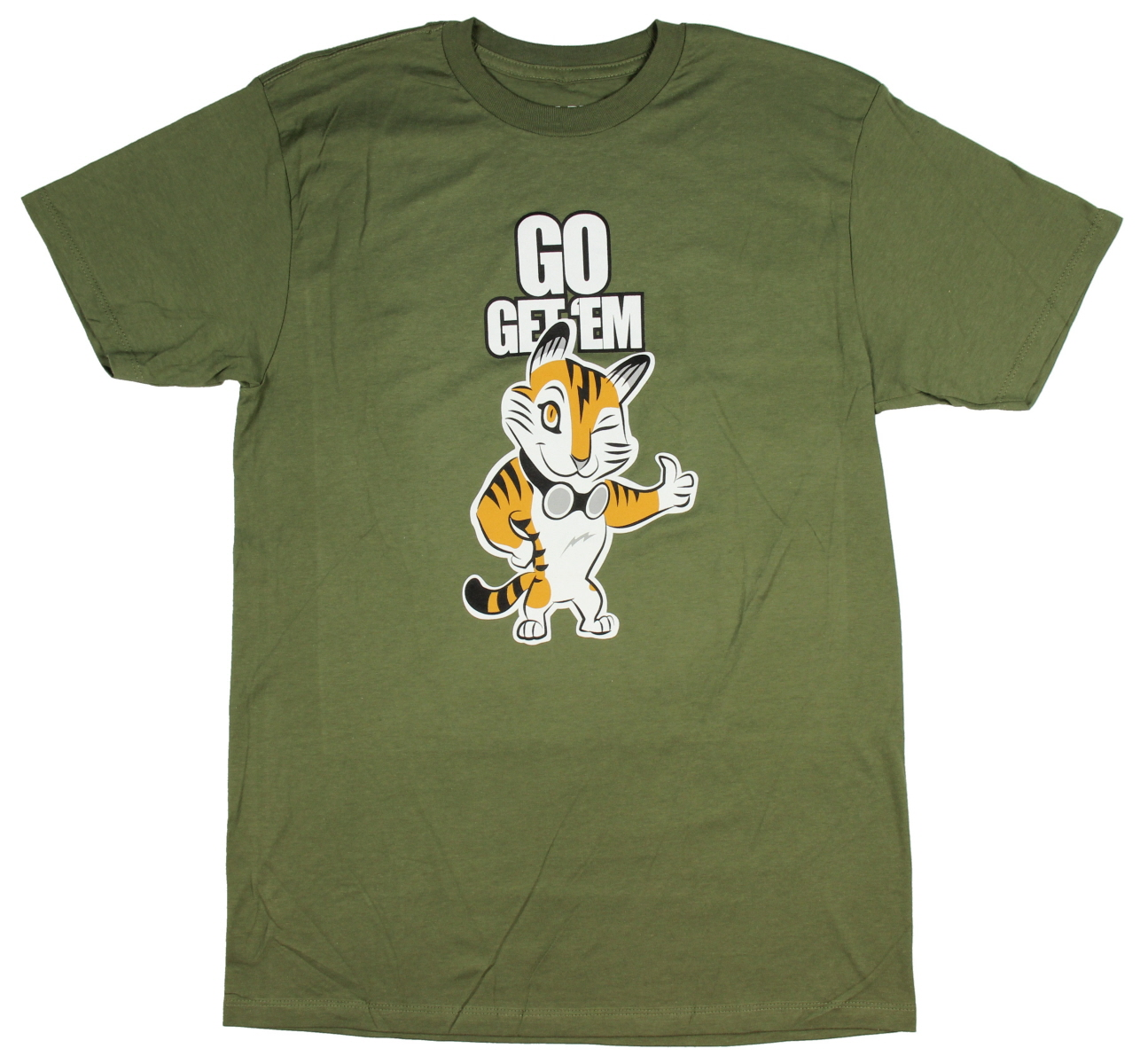 79da63ba9 This officially licensed adult tee is designed to look like Poindexter s nerd  shirt. Features a high quality front graphic saying Go Get  Em Tiger.
