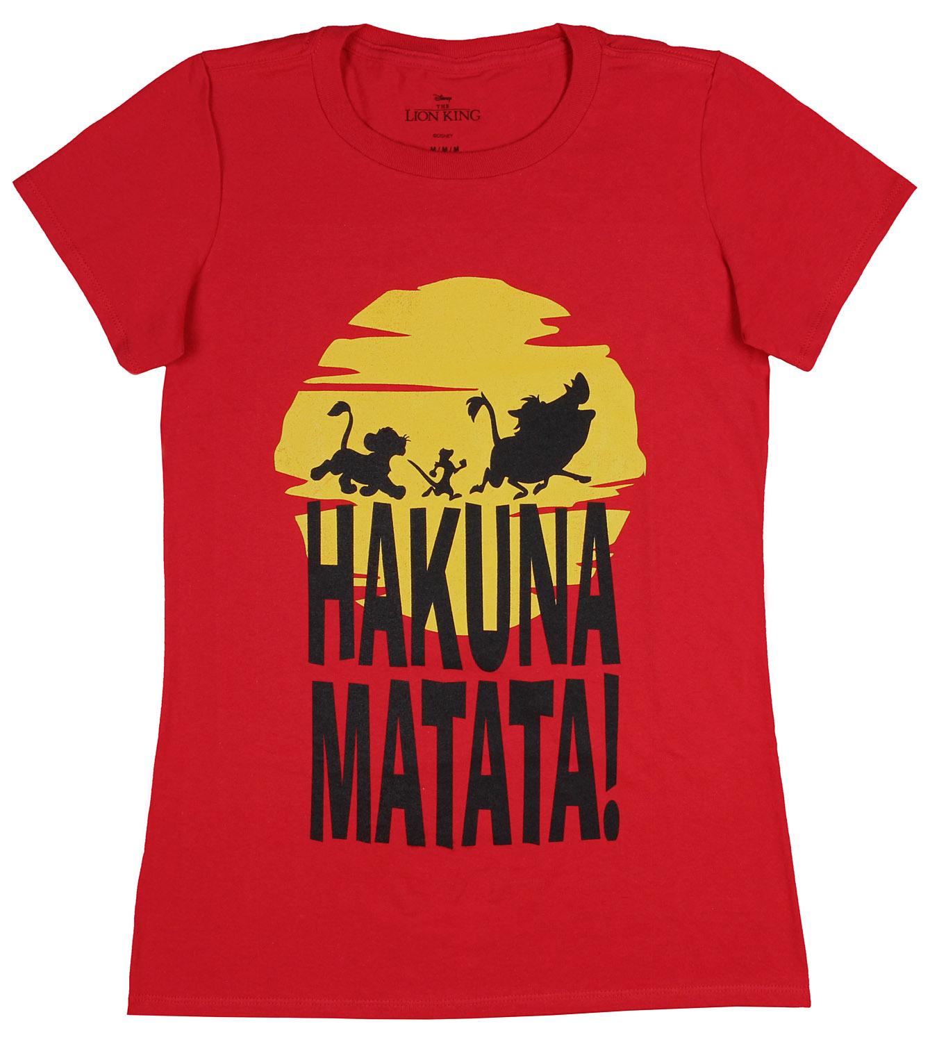 51f3a8a0e1b3 Disney The Lion King Hakuna Matata Trio Sunrise Silhouette Juniors T-Shirt  (SM)