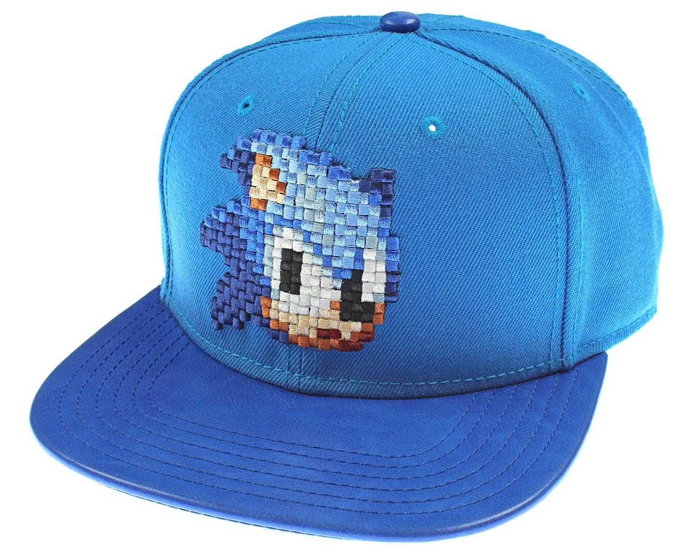 c51bffc3f45 Details about Sega Genesis Sonic The Hedgehog Hat - Blue 8 Bit Pixel Don t  Blink Snapback
