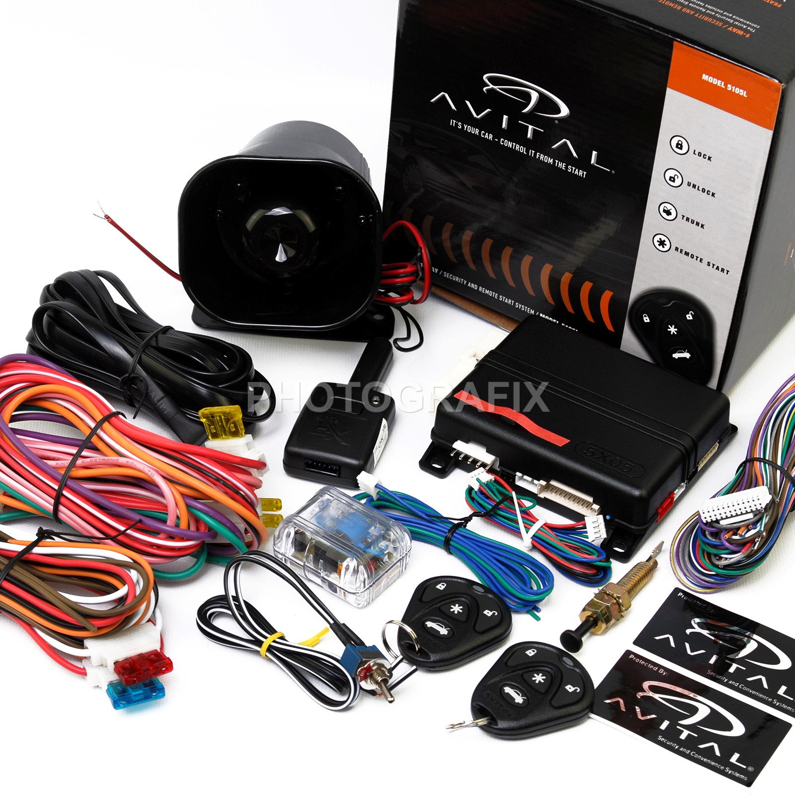 New Avital 5105l 1 Way Car Security Alarm Remote Start System D2d Starter Control Replaces 5103l