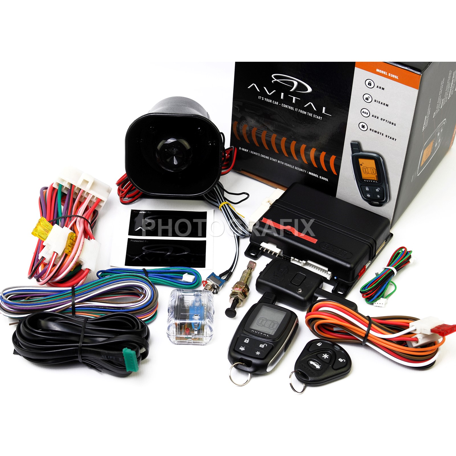 dei5305l__itemimageurl1 avital 5305l 2 way remote auto car start starter & alarm security avital 5305l wiring diagram at virtualis.co