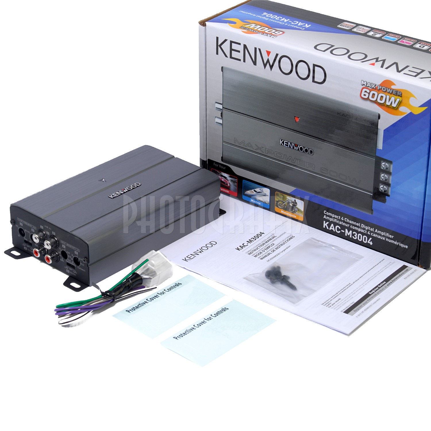 Details over Kenwood KAC-M3004 4 Channel 600w Max Marine Boat Compact  Amplifier AMP KACM3004