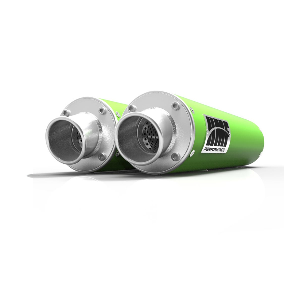 Performance Dual Slip On Green Exhaust & Brushed End Cap