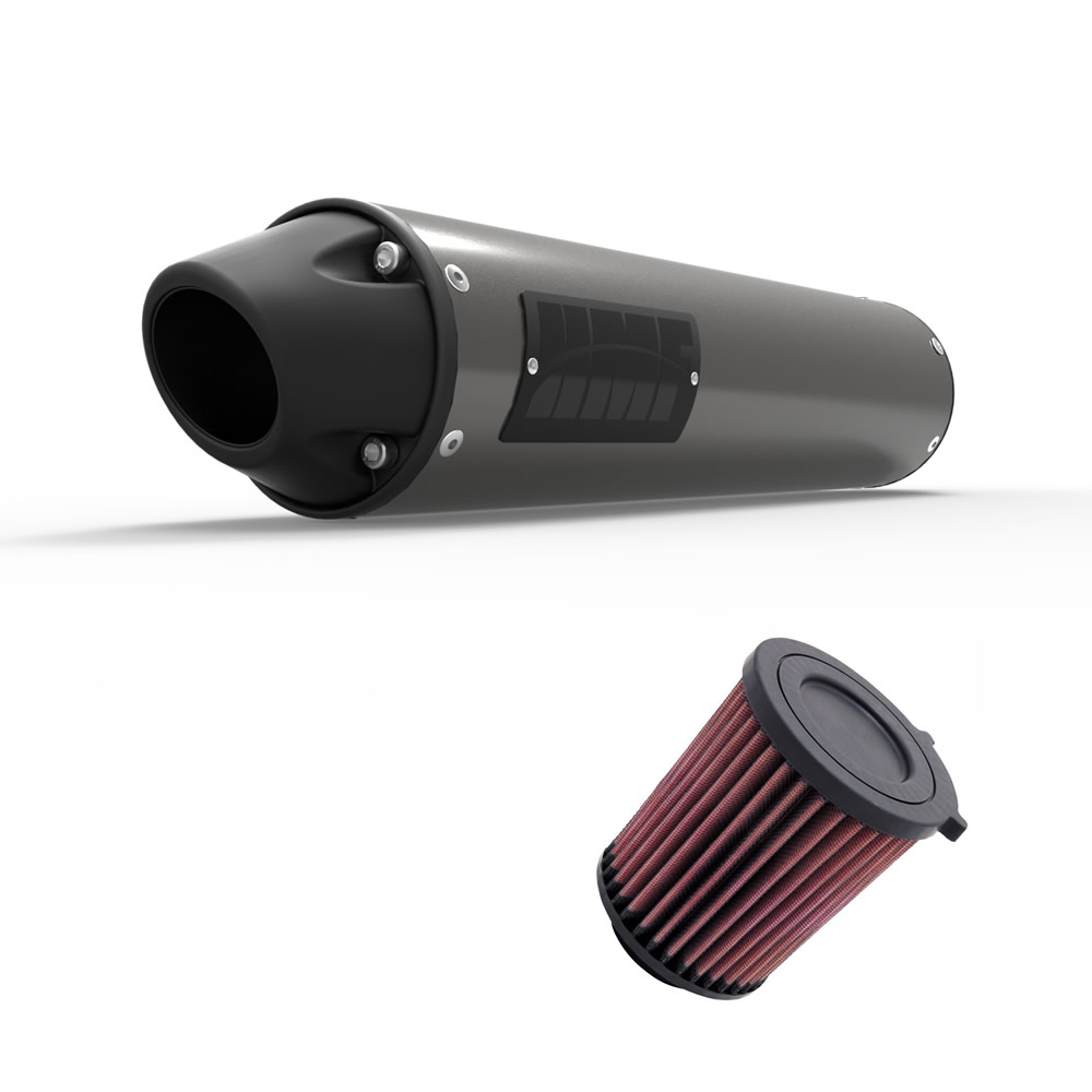 UNI Filter and HMF Perf-Series Slip On Exhaust for Honda Rancher 420 2007-2008
