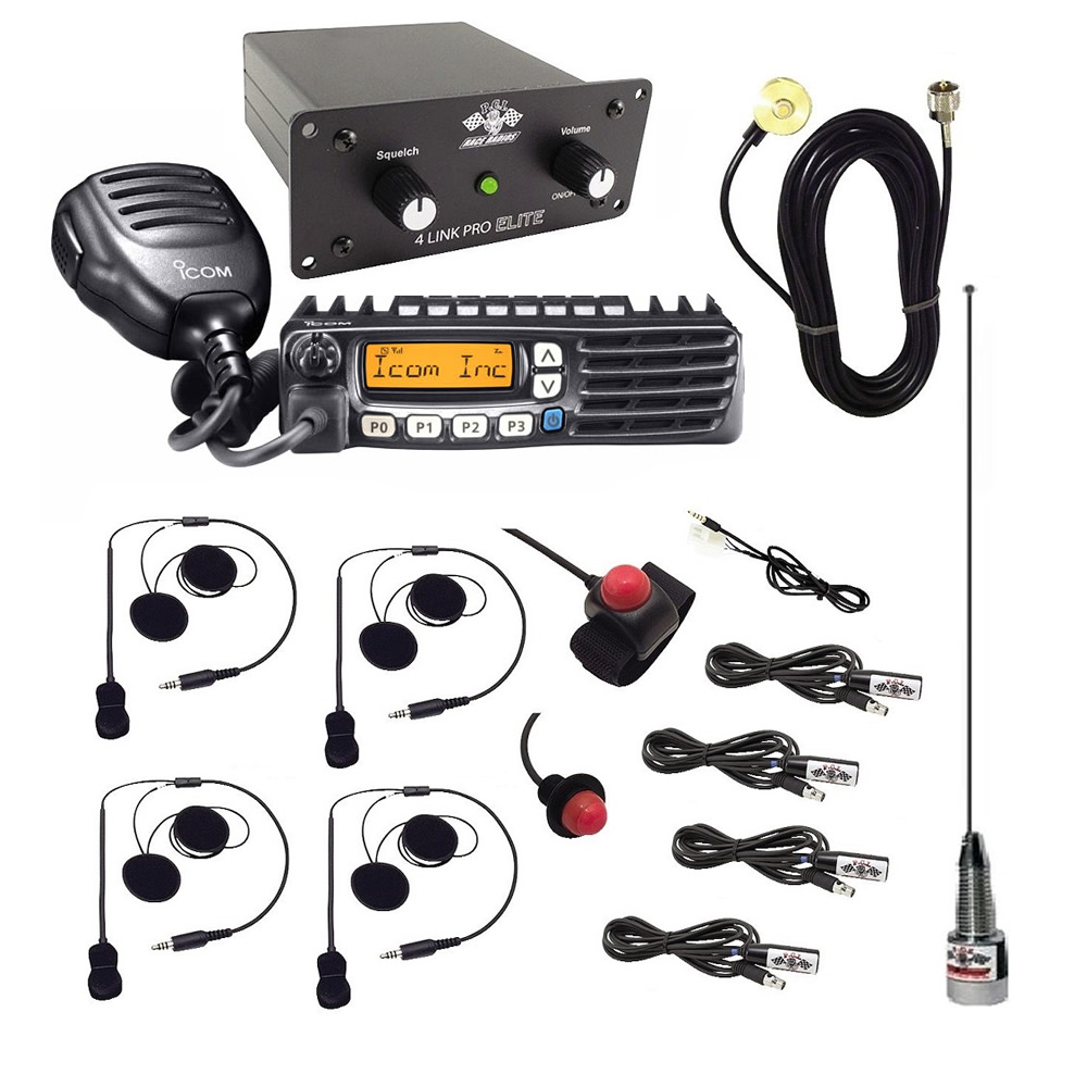 2-Way Radio Intercom with Helmet Wiring Kits for 4 Seats