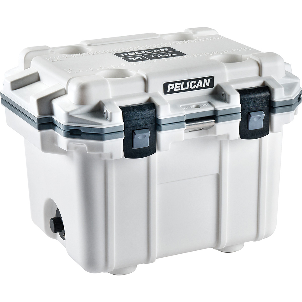 White & Grey 30 Quart Injection-Molded Cooler