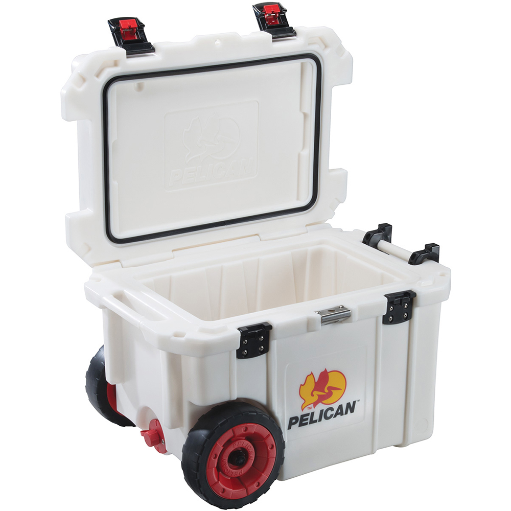 White 45 Quart Cooler with Wheels
