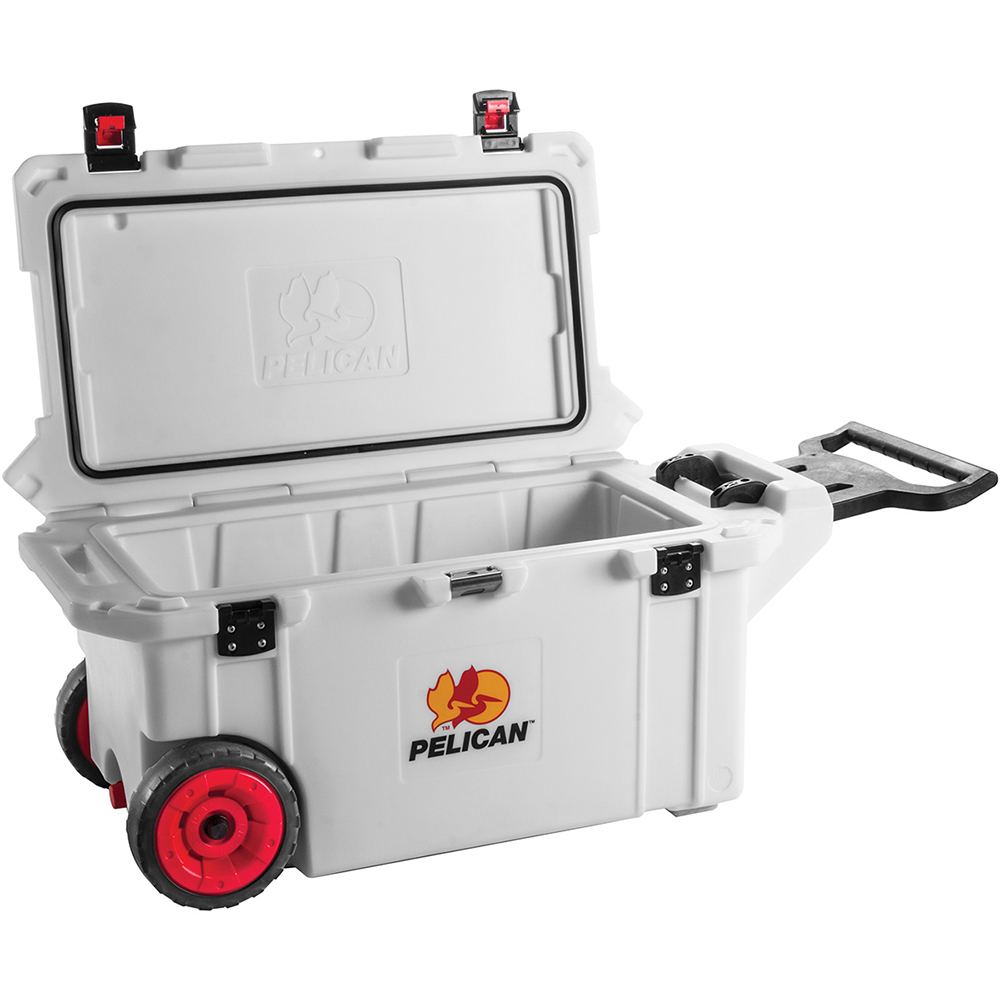 White 80 Quart Cooler with Wheels