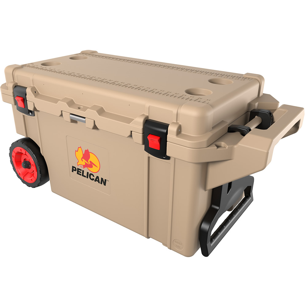 Tan 80 Quart Cooler with Wheels
