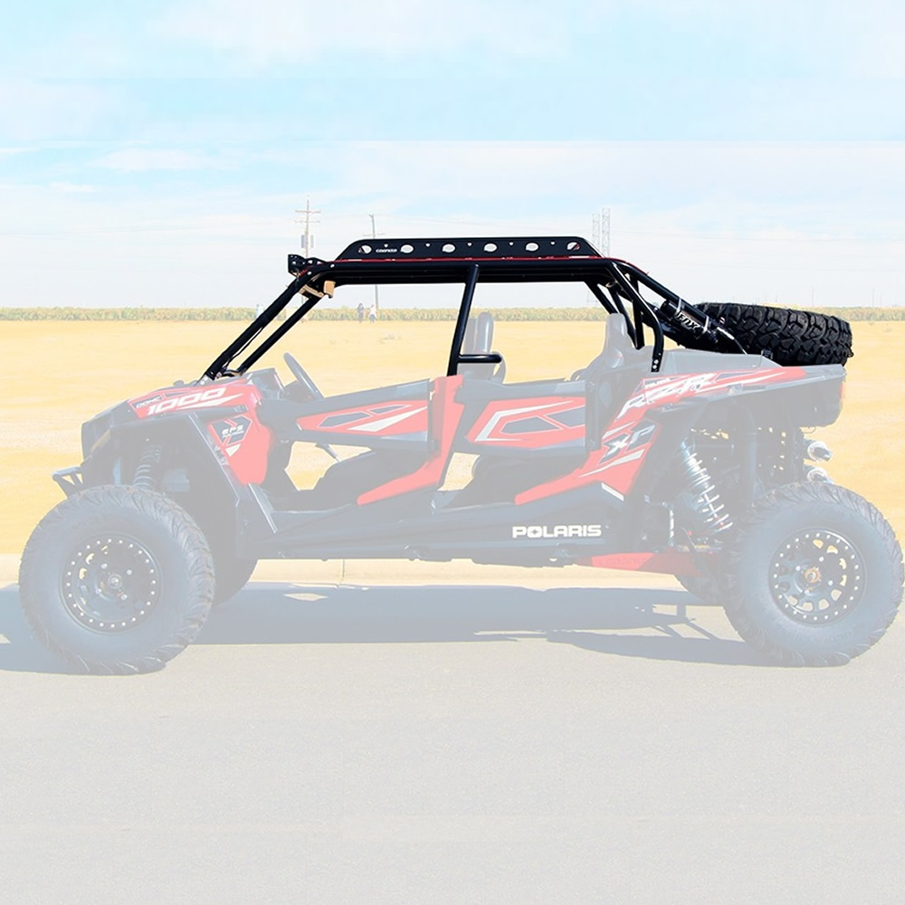 Steel UTV Roll Cage with Rear View Mirror & Roof Skin