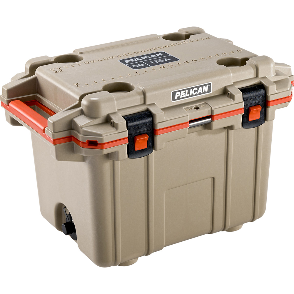 Tan & Orange 50 Quart Injection-Molded Cooler