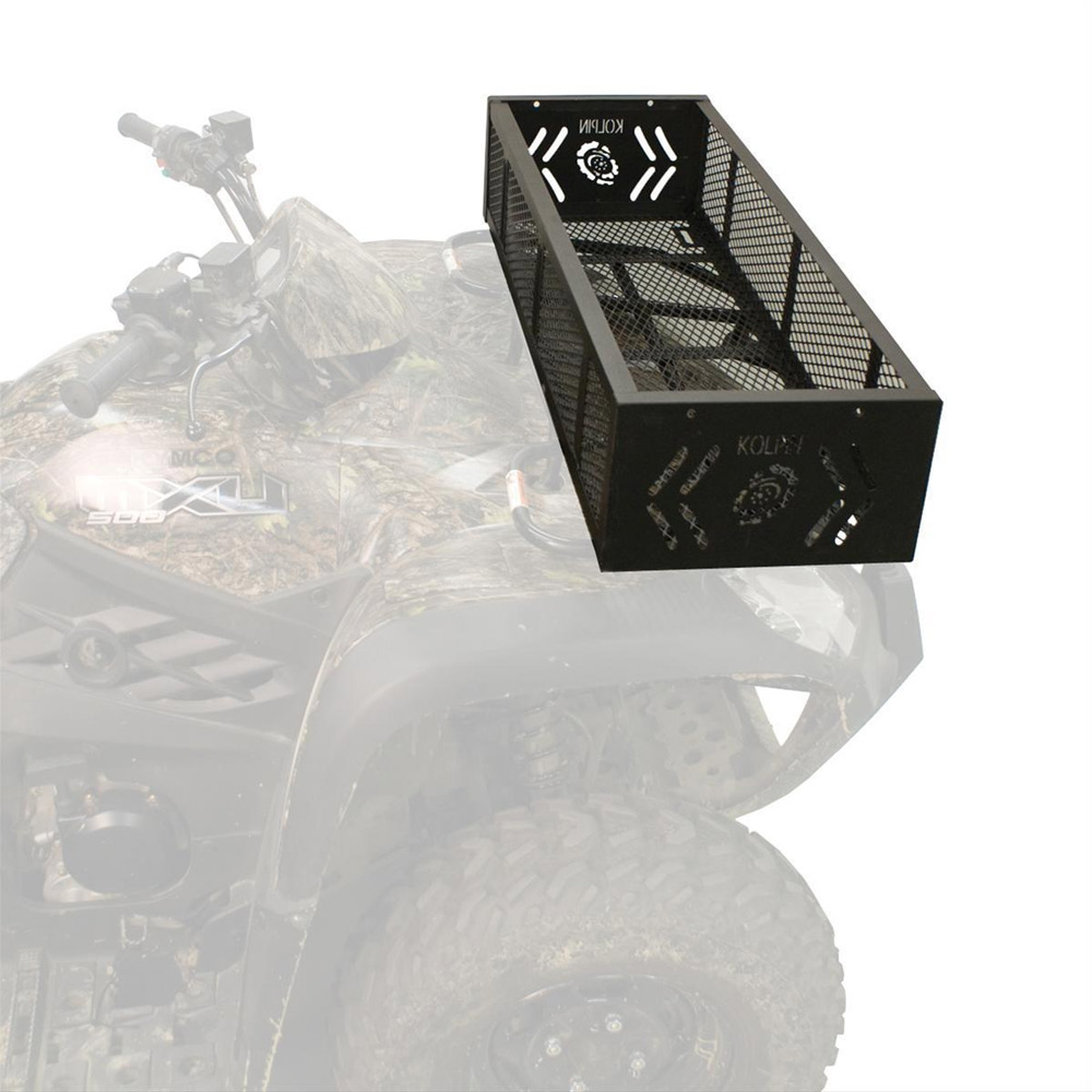 Black One-Piece Welded Expanded Metal Front Gear Basket