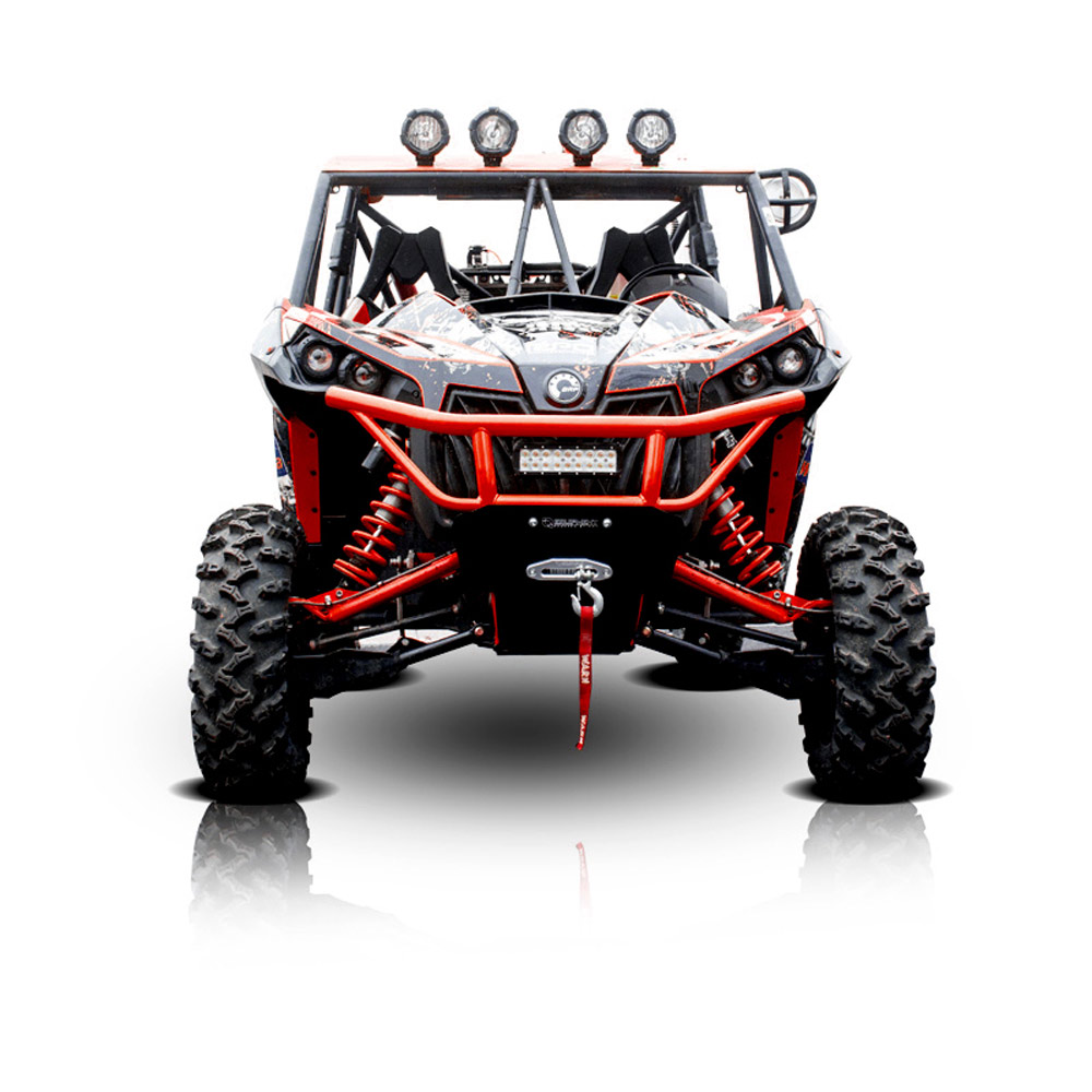 Can-Am Red UTV Steel Front Bumper with Skid Plate