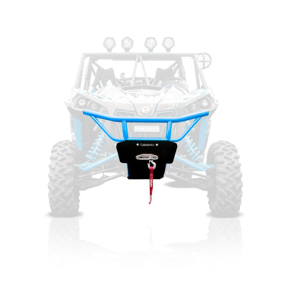 Octane Blue UTV Steel Front Bumper with Skid Plate