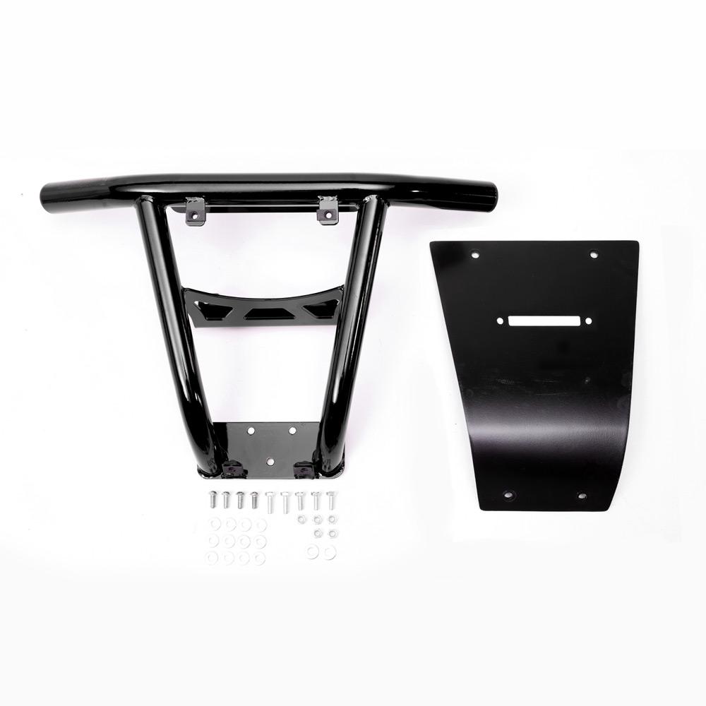 Black UTV Steel Front Bumper with fairlead hole