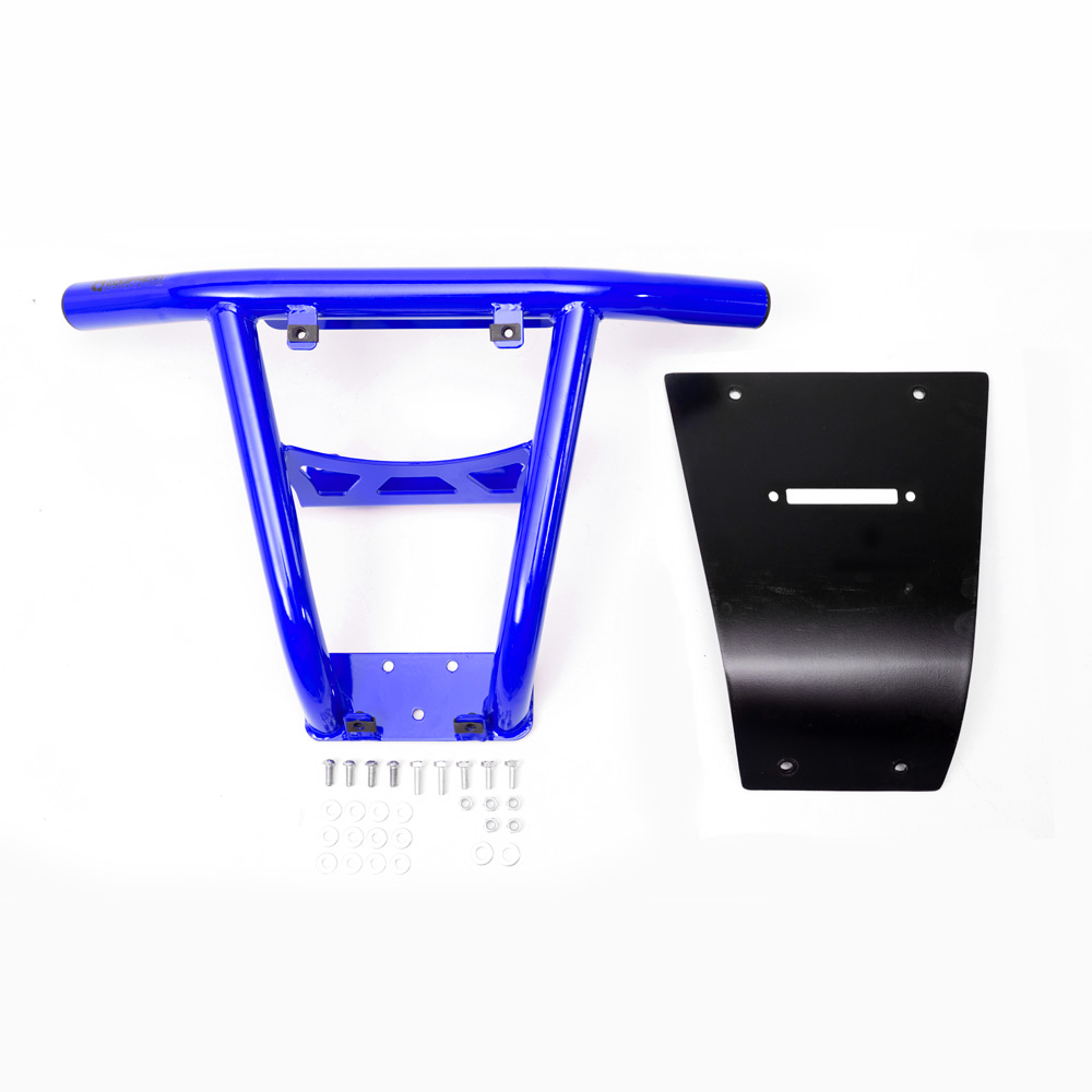 Blue UTV Steel Front Bumper with fairlead hole