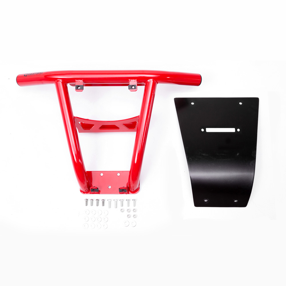 Red UTV Steel Front Bumper with fairlead hole