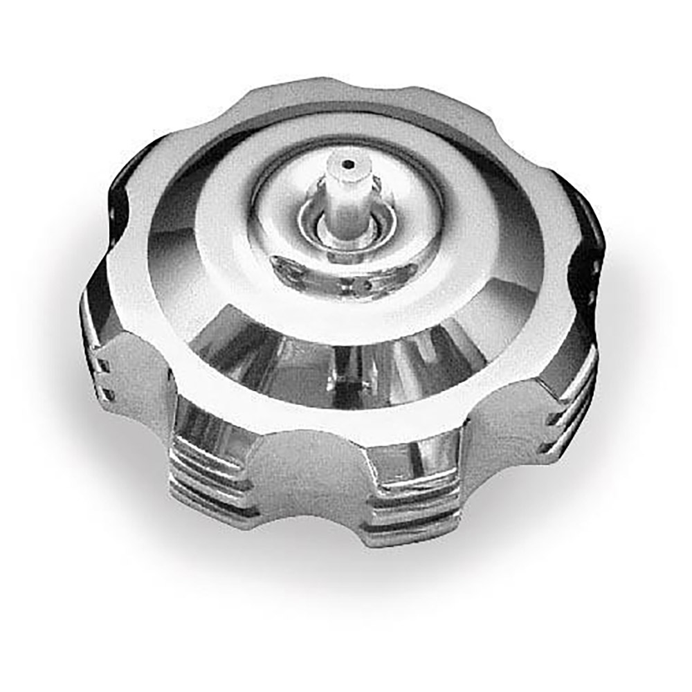 Polished 45 Degree Step Anodized Gas Cap with Breather Valves