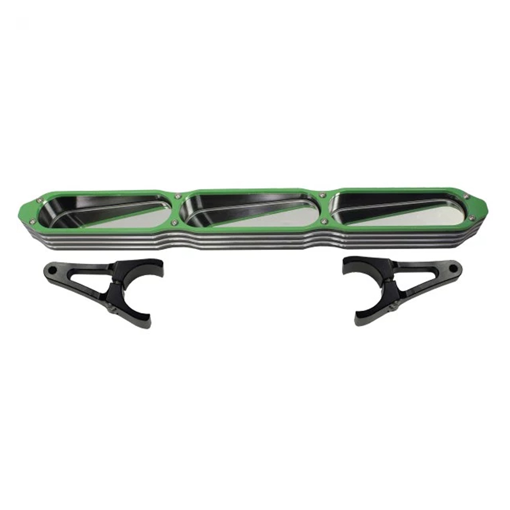 Billet Aluminum 3-Panel Rear View Mirror with Green Bezel - 1-3/4