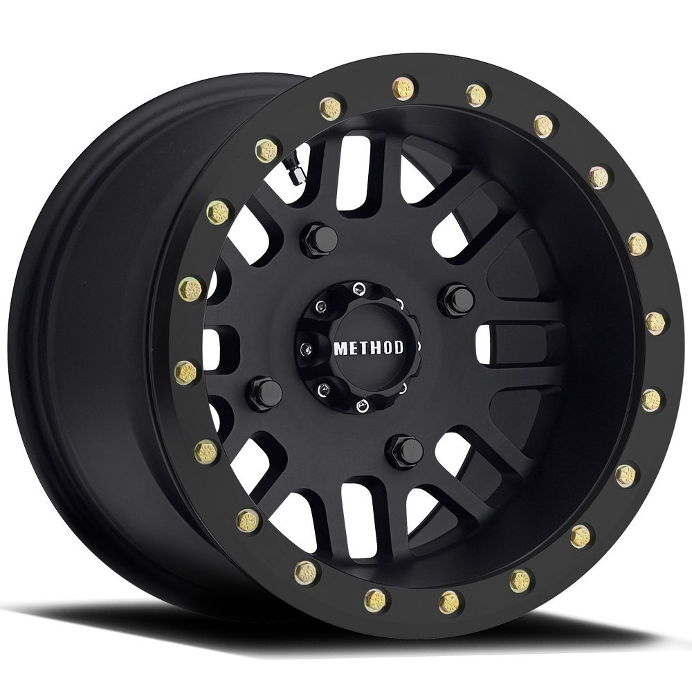 Matte Black Mesh Wheels with Forged 6061 Aluminum Beadlock Ring