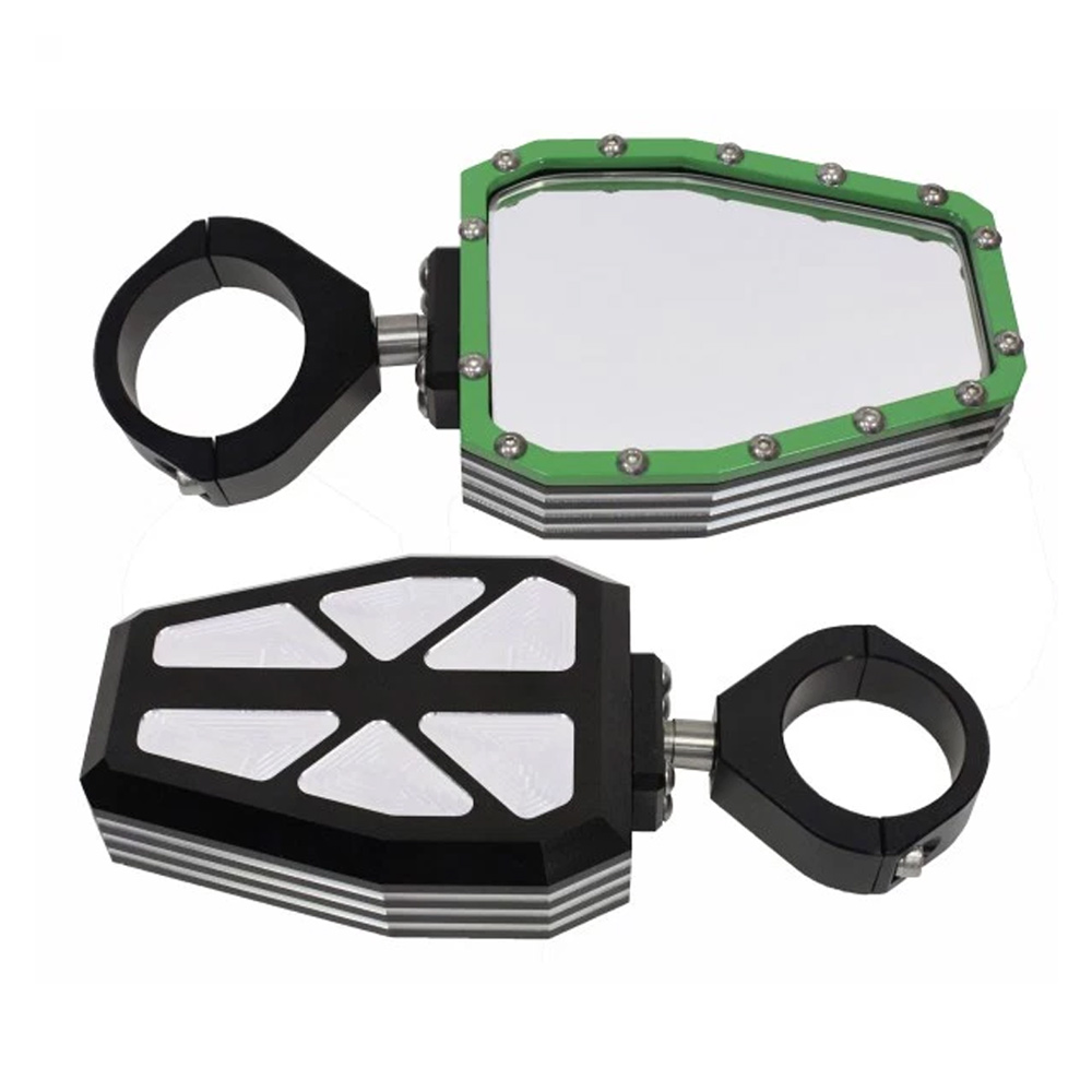 Billet Aluminum Side Mirrors with Green Bezel - 1-3/4