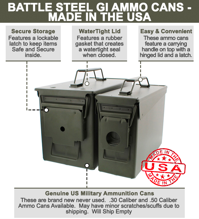 Battle Steel Military Cans .50 M2A1 U0026 .30 M19A1 Cal Ammo Long Term Storage  Boxes