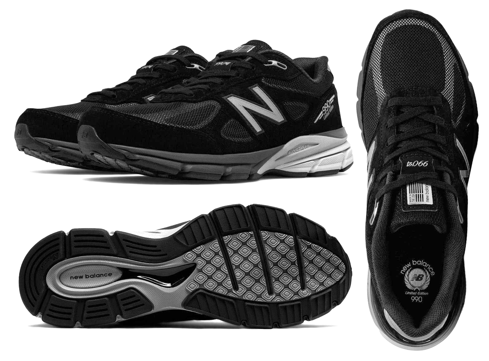 finest selection dd149 89883 Details about New Balance M990BLE4 Men's 990V4 Reflective Running Shoes,  Black