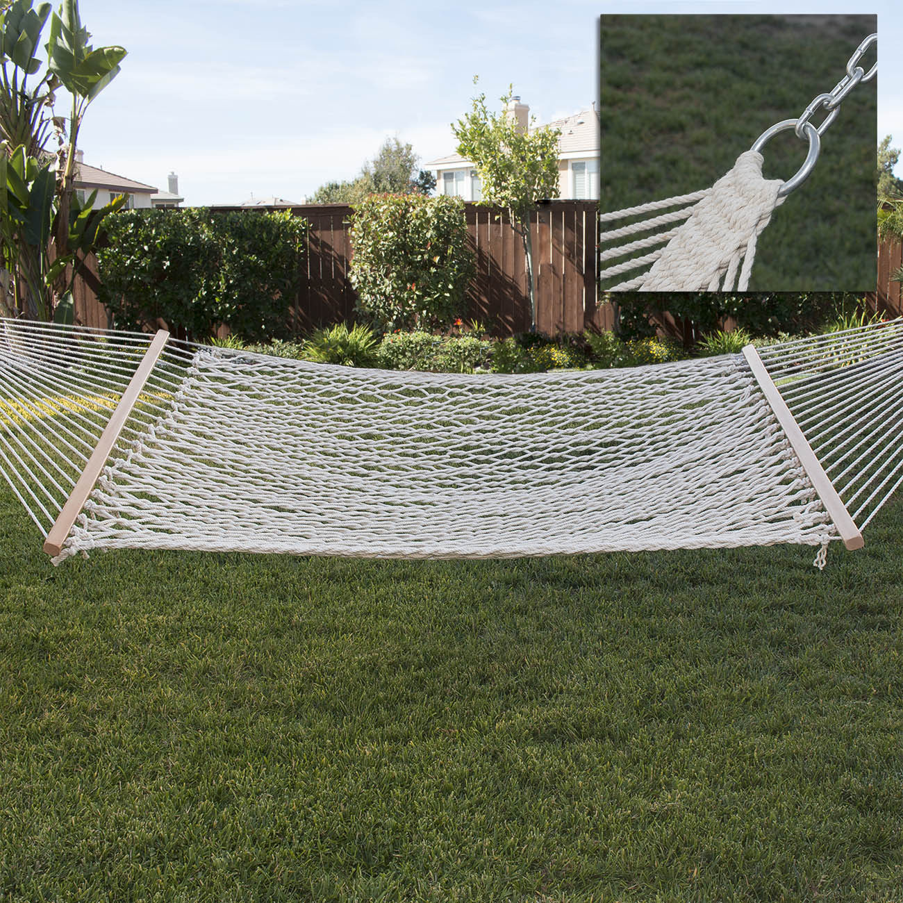 Medium image of new cotton rope hammock double wide with solid wood spreaders 2 person 450lbs