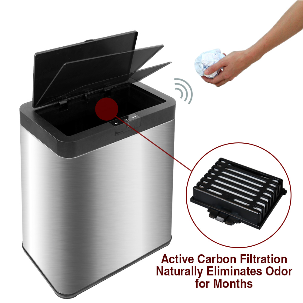 13 2 Gal Kitchen Touchless Stainless Steel Trash Can