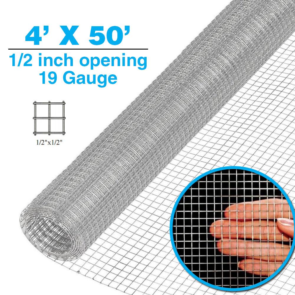 4\' x 50\' 1/2 in 19 gauge Hardware Cloth Galvanized Cage Wire Mesh ...