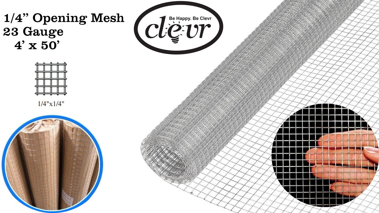 4\' x 50\' 1/4 in 23 gauge Hardware Cloth Galvanized Cage Wire Mesh ...