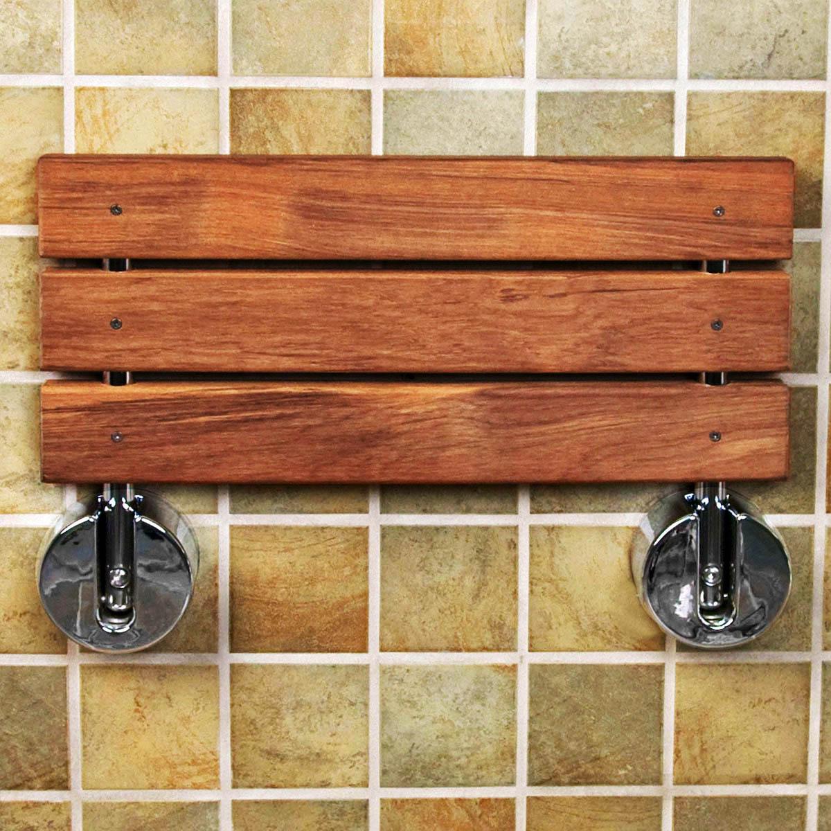 Clevr 20 Quot Teak Modern Folding Shower Seat Bench Dark Wood