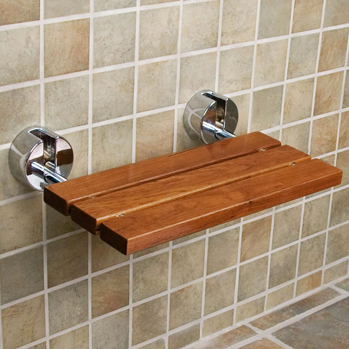 Clevr 20 Teak Modern Folding Shower Seat Bench Dark Wood Medical Wall Mount