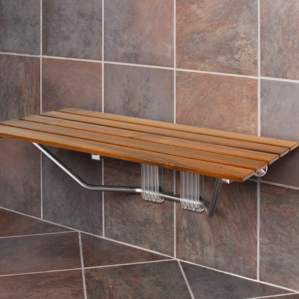 Clevr 36 Ada Compliant Double Seat Teak Wood Folding Shower Bench