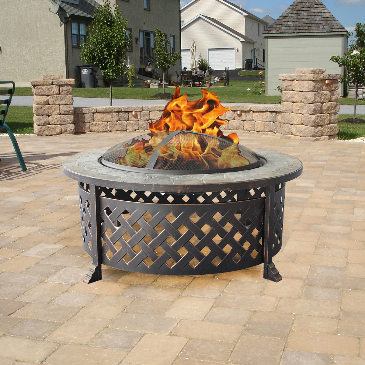 """Backyard Patios With Fire Pits: Clevr Outdoor 34"""" Metal Firepit Table Backyard Patio"""