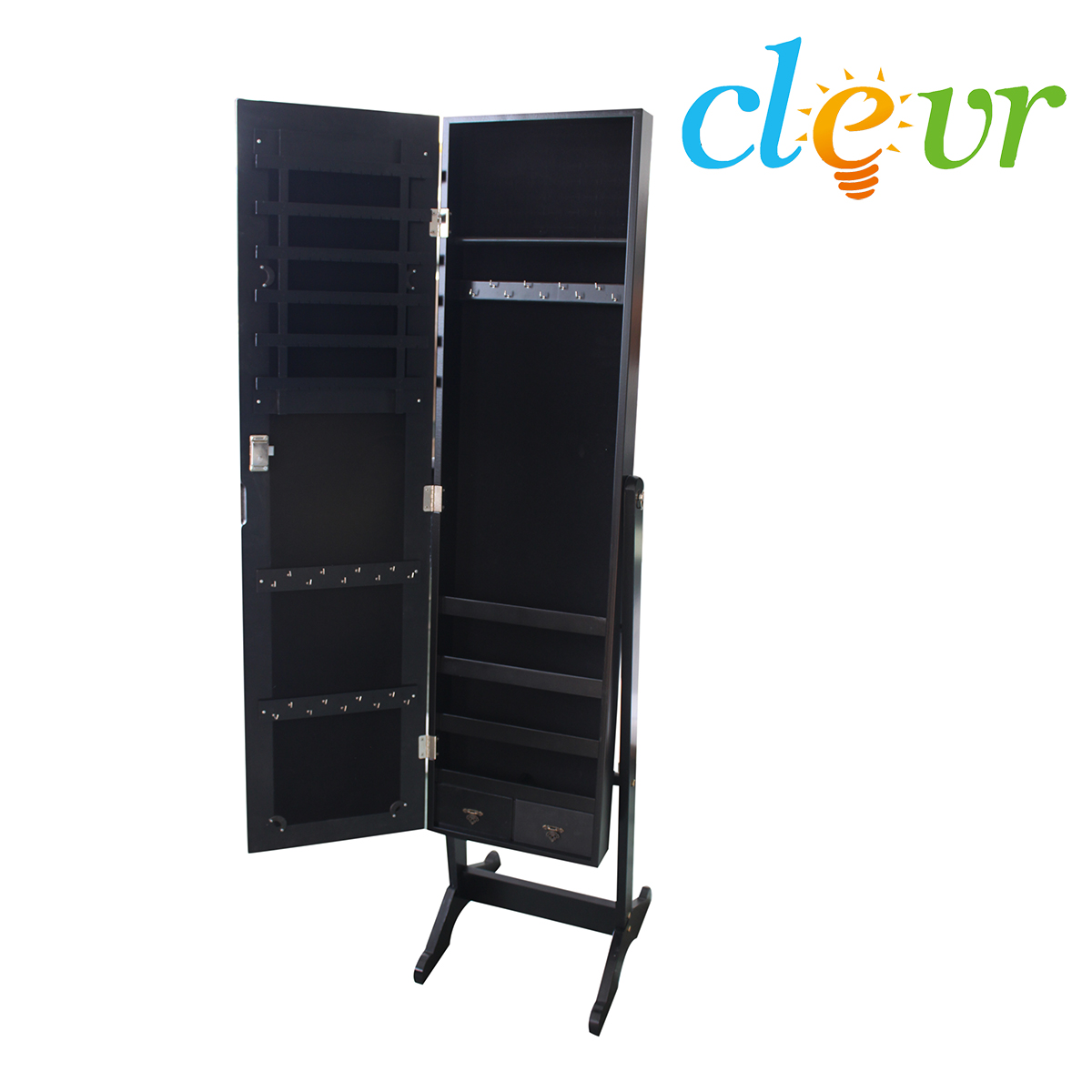 Clevr Black Mirrored Jewelry Cabinet Armoire Mirror