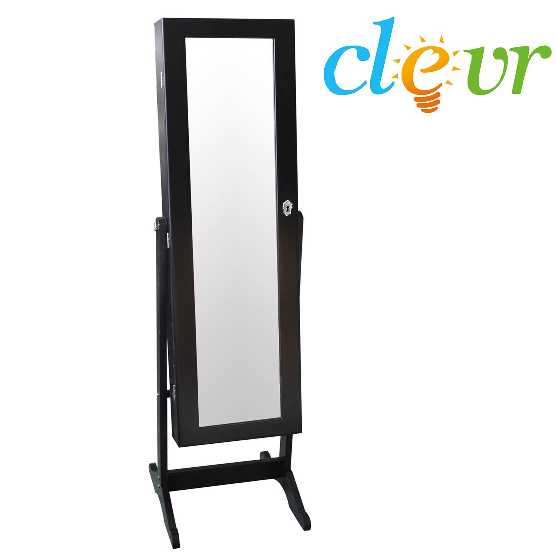 Clevr Black Mirrored Jewelry Cabinet Armoire Mirror Organizer ...