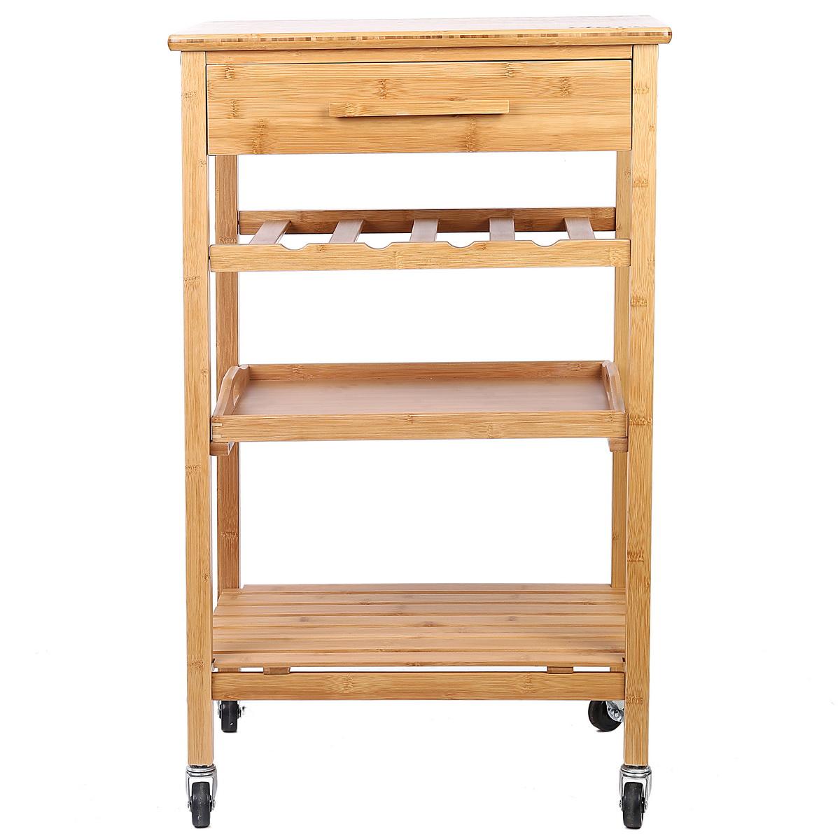 bamboo kitchen island cart trolley wood cabinet w wine rack