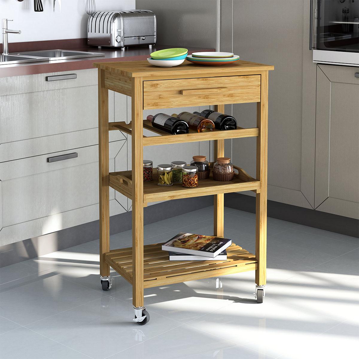 Bamboo Kitchen Island Bar Cart Trolley, Wood Cabinet w/ Wine Rack ...