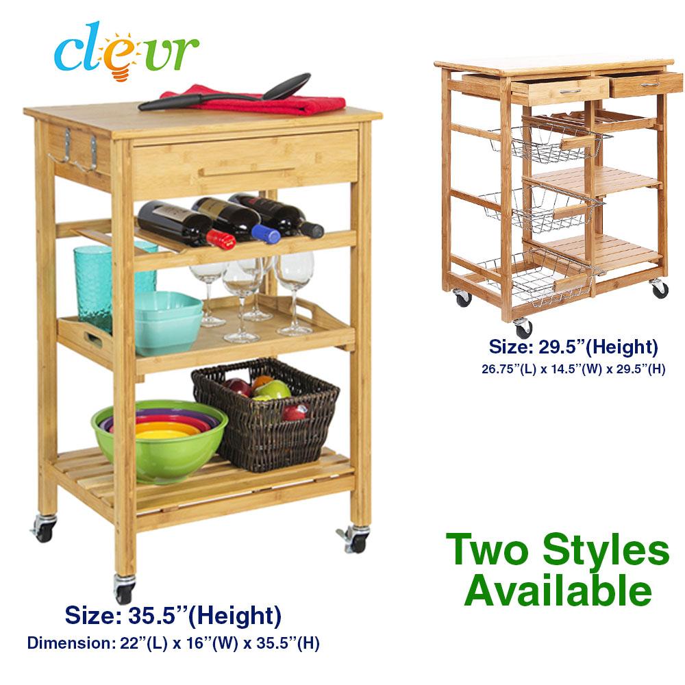 Bamboo Kitchen Island Bar Cart Trolley, Wood Cabinet W/ Wine Rack Drawer  Shelves