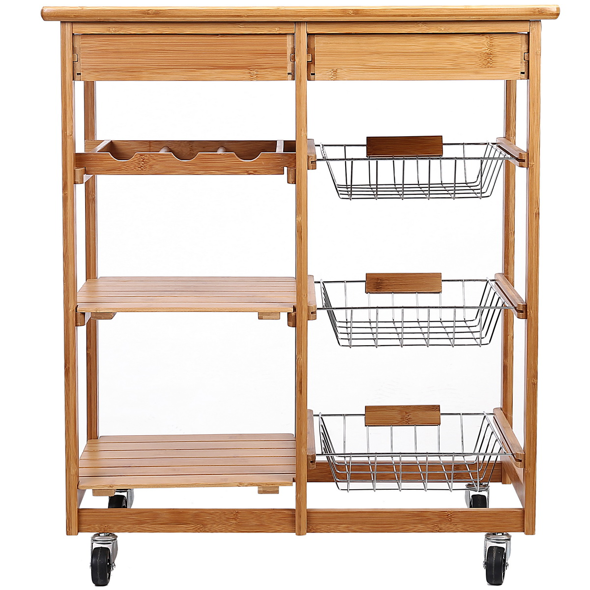 Rolling Bamboo Kitchen Storage Cart Rack With Drawer & Shelves ...