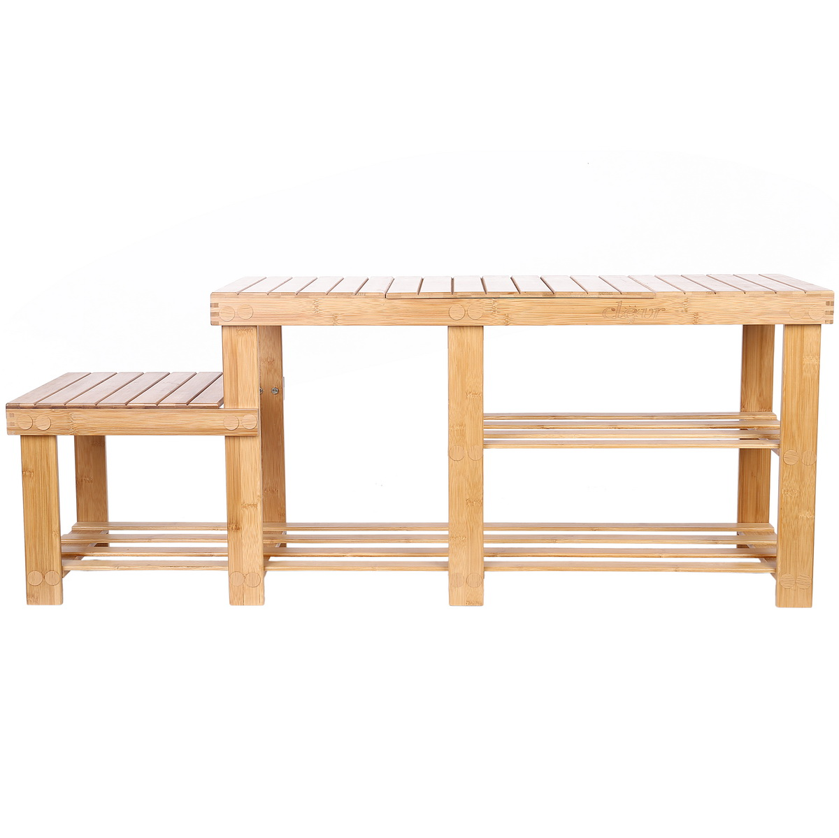 Clevr Natural Bamboo Shoe Storage Rack Bench With 2 Tier