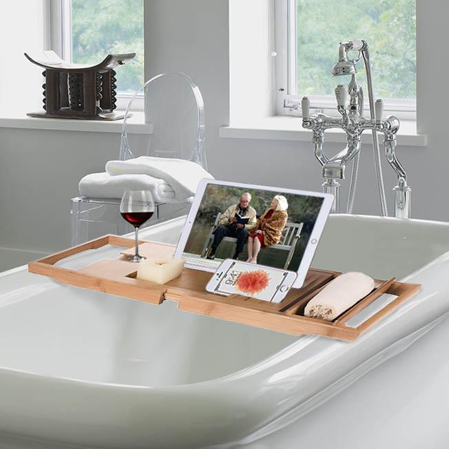 Exceptionnel Luxury Bamboo Bathtub Caddy, Organizer, W/ Book Tablet Holder, Wine Glass  Holder